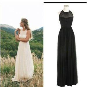 J. Crew Megan In Black Long Dress SilkChiffon Prom